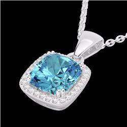 Natural 3.50 CTW Sky Blue Topaz & Micro Diamond Halo Solitaire Necklace 18K White Gold - 22832-REF#-