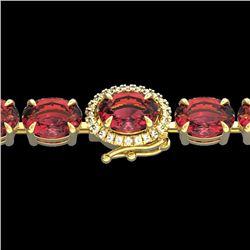Natural 27 CTW Pink Tourmaline & Diamond Tennis Micro Halo Bracelet 14K Yellow Gold - 23437-REF#-242