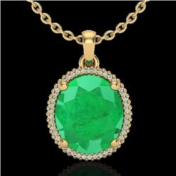Natural 12 CTW Emerald & Micro Pave Diamond Certified Halo Necklace 18K Yellow Gold - 20610-REF#-115