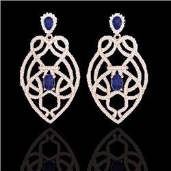 Natural 7 CTW Tanzanite & Micro Diamond Heart Earrings Solitaire 14K Rose Gold - 21142-REF#-285W2G