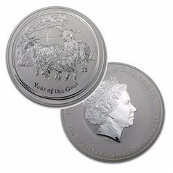 1 Kilo Australian Fine Silver Coin - Year of the Goat - BU