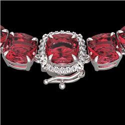 Natural 100 CTW Pink Tourmaline & Diamond Halo Micro Eternity Necklace 14K White Gold - 23356-REF#-8