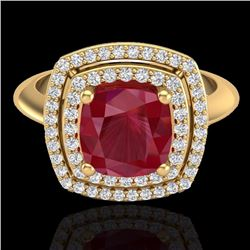 Natural 1.50 CTW Ruby & Micro Diamond Certified Pave Halo Ring 18K Yellow Gold - 20767-REF#-83S4V
