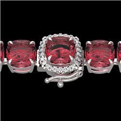 Natural 40 CTW Pink Tourmaline & Micro Diamond Halo Bracelet 14K White Gold - 23319-REF#-422M9F