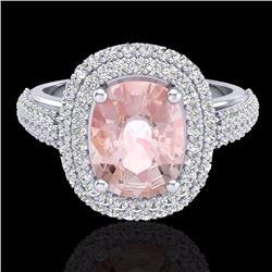 Natural 3.25 CTW Morganite & Micro Pave Diamond Certified Halo Ring 18K White Gold - 20720-REF#-136M