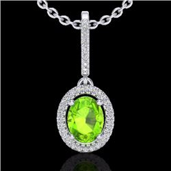 Natural 2 CTW Peridot & Micro Pave Diamond Necklace Solitaire Halo 18K White Gold - 20665-REF#-49Y6Z