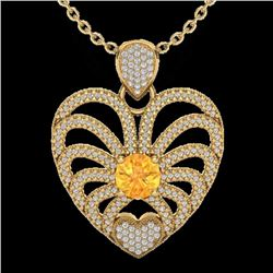 Natural 3 CTW Citrine with Micro Pave Diamond Certified Heart Necklace 14K Yellow Gold - 20503-REF#-