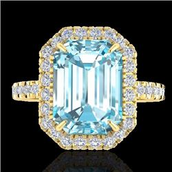 Natural 63 CTW Sky Blue Topaz & Micro Pave Diamond Certified Halo Ring 18K Yellow Gold - 21421-REF#-