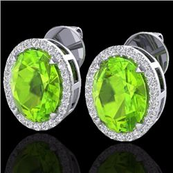 Natural 5.50 CTW Peridot & Micro Diamond Halo Solitaire Earrings Ring 18K White Gold - 20255-REF#-70