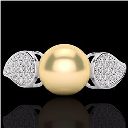 Natural .27 CTW Micro Pave Diamond Certified & Golden Pearl Designer Ring 18K White Gold - 22639-REF