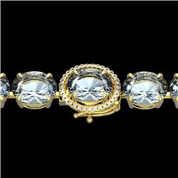 Natural 40 CTW Aquamarine & Micro Diamond Halo Designer Bracelet 14K Yellow Gold - 22253-REF#-299R7H