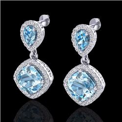 Natural 7 CTW Sky Blue Topaz & Micro Diamond Certified Earrings Halo 10K White Gold - 20200-REF#-74G