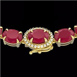 Natural 92 CTW Ruby & Diamond Eternity Tennis Micro Halo Necklace 14K Yellow Gold - 23476-REF#-254X5