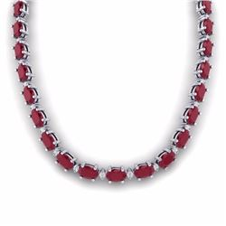 71.85 CTW RUBY & DIAMOND SI-I CERTIFIED ETERNITY TENNIS NECKLACE - 29515-#271A2N