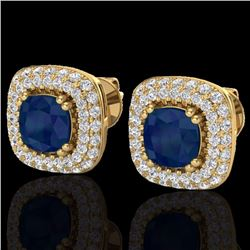 Natural 2.16 CTW Sapphire & Micro Diamond Earrings Solitaire Double Halo 18K Yellow Gold - 20349-REF