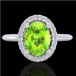 Natural 1.75 CTW Peridot & Micro Diamond Bridal Ring Solitaire Halo 18K White Gold - 21016-REF#-45H9