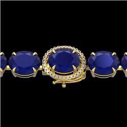 Natural 49 CTW Sapphire & Micro Pave Diamond Halo Bracelet 14K Yellow Gold - 22278-REF#-216Y2Z