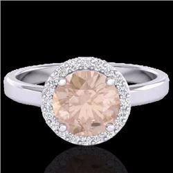 Natural 1.50 CTW Morganite & Halo Diamond Micro Ring Solitaire Bridal 18K White Gold - 21634-REF#-61