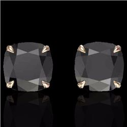 Natural 6 CTW Cushion cut Black Diamond Designer Solitaire Stud Earrings 14K Rose Gold - 21734-REF#-