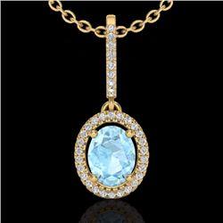 Natural 1.75 CTW Aquamarine & Micro Diamond Necklace Solitaire Halo 18K Yellow Gold - 20651-REF#-52V