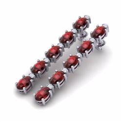 10.36 CTW GARNET & DIAMOND SI-I CERTIFIED TENNIS EARRINGS - 29396-#44W7G