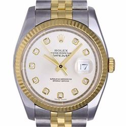Pre-owned Excellent Condition Authentic Rolex Quickset Men's 18K/Stainless Steel DateJust White Dial