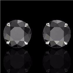 Natural 4 CTW Black Diamond Designer Inspired Solitaire Stud Earrings 18K White Gold - 21815-REF#-72