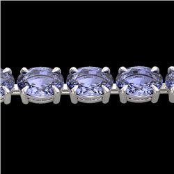 Natural 24 CTW Tanzanite Eternity Designer Inspired Tennis Bracelet 14K White Gold - 23395-REF#-193Y
