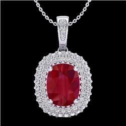 Natural 3.15 CTW Ruby & Micro Pave Diamond Certified Halo Necklace 18K White Gold - 20417-REF#-64W2G