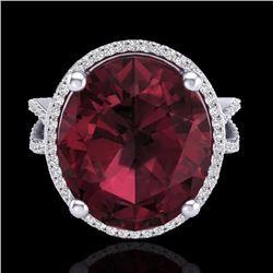 Natural 10 CTW Garnet & Micro Pave Diamond Certified Halo Ring 18K White Gold - 20963-REF#-75K3W