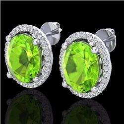 Natural 5 CTW Peridot & Micro Pave Diamond Certified Earrings Halo 18K White Gold - 21060-REF#-64Z2R