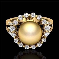Natural .83 CT Micro Pave Diamond Certified & Golden Pearl Halo Ring 18K Yellow Gold - 20703-REF#-62