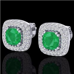 Natural 2.16 CTW Emerald & Micro Diamond Earrings Solitaire Double Halo 18K White Gold - 20344-REF#-