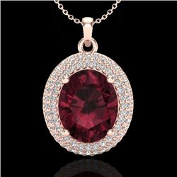 Natural 4.50 CTW Garnet & Micro Pave Diamond Certified Necklace 14K Rose Gold - 20564-REF#-58N2A