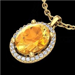 Natural 2.50 CTW Citrine & Micro Pave Diamond Certified Necklace Halo 18K Yellow Gold - 21077-REF#-3