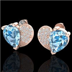 Natural 2.50 CTW Sky Blue Topaz & Micro Pave Diamond Certified Earrings 10K Rose Gold - 20066-REF#-2
