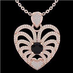 Natural 3.50 CTW Black & White Micro Diamond Certified Heart Necklace 14K Rose Gold - 20498-REF#-139