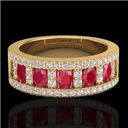 Natural 2.34 CTW Ruby & Micro Pave Diamond Designer Inspired Ring 10K Yellow Gold - 20827-REF#-49X2T