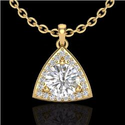 Natural 1.50 CTW Micro Pave Halo Solitaire Diamond Certified Necklace 18K Yellow Gold - 20525-REF#-3