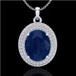 Natural 4.50 CTW Sapphire & Micro Pave Diamond Certified Necklace 18K White Gold - 20573-REF#-78F5V
