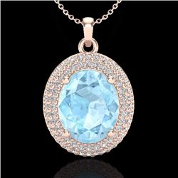 Natural 4 CTW Aquamarine & Micro Pave Diamond Certified Necklace 14K Rose Gold - 20553-REF#-85F8V
