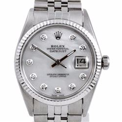 Pre-owned Excellent Condition Authentic Rolex Quickset Men's Stainless Steel DateJust Mother of Pear