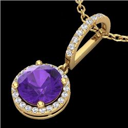 Natural 2 CTW Amethyst & Micro Pave Diamond Necklace Designer Halo 18K Yellow Gold - 23191-REF#-32H8
