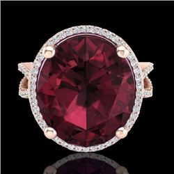 Natural 10 CTW Garnet & Micro Pave Diamond Certified Halo Ring 14K Rose Gold - 20962-REF#-61A8X