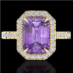 Natural 53 CTW Amethyst & Micro Pave Diamond Certified Halo Ring 18K Yellow Gold - 21418-REF#-57Y7Z