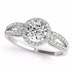 0.75 CTW Certified SI-I Diamond Bridal Solitaire Halo Ring 18K White - 26802-#95K5R