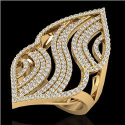 Natural 2 CTW Micro Pave Diamond Certified Designer Ring 14K Yellow Gold - 20870-REF#-121R7H