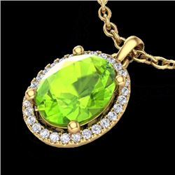 Natural 2.50 CTW Peridot & Micro Pave Diamond Certified Necklace Halo 18K Yellow Gold - 21086-REF#-4