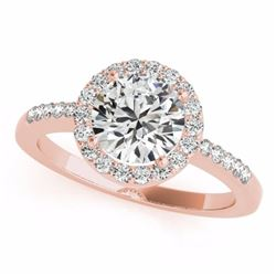 0.50 CTW Certified SI-I Diamond Bridal Solitaire Halo Ring 18K Rose Gold - 26321-#57H5W