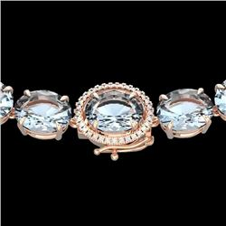 Natural 127 CTW Sky Blue Topaz & Diamond Halo Micro Eternity Necklace 14K Rose Gold - 22319-REF#-268
